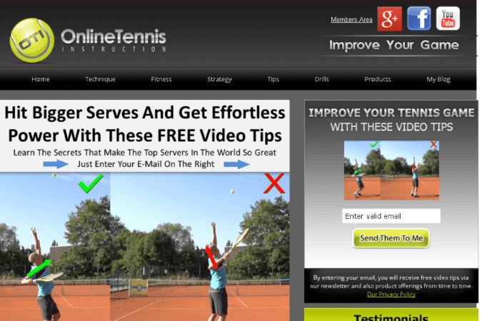 Online Tennis Instruction Site