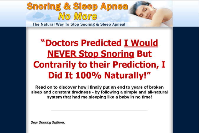 Snoring And Sleep Apnea No More Site