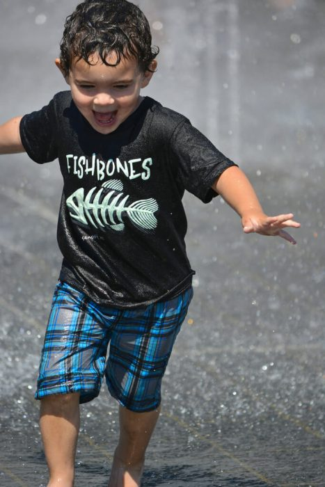 young boy running